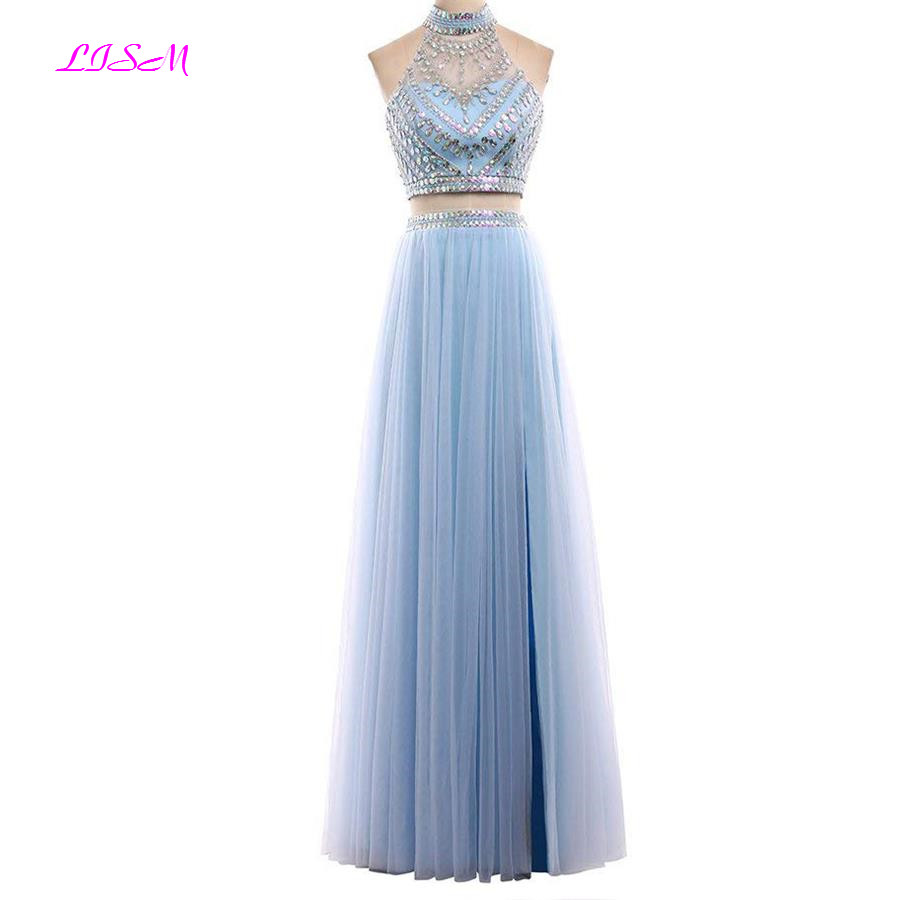 Two Pieces Long Tulle   Prom     Dress   High Neck Floor Length Crystals Formal   Dresses   Crop Top Backless Bridesmaid   Dress   robe soiree