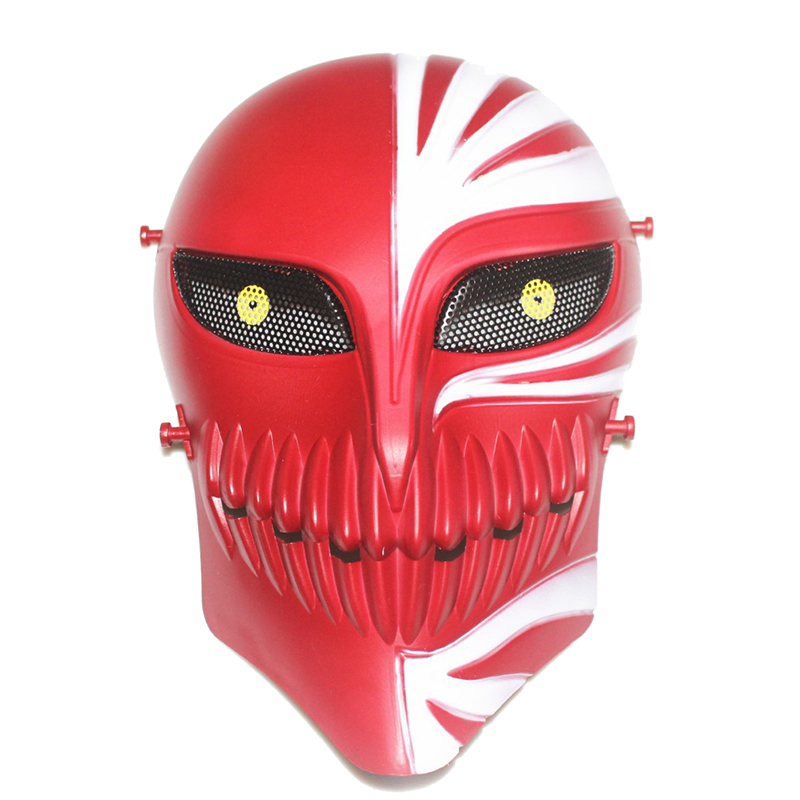 TACTICAL AIRSOFT PAINTBALL CS WAR GAME FULL FACE PROTECTIVE SKULL MASK(WHITE and RED)