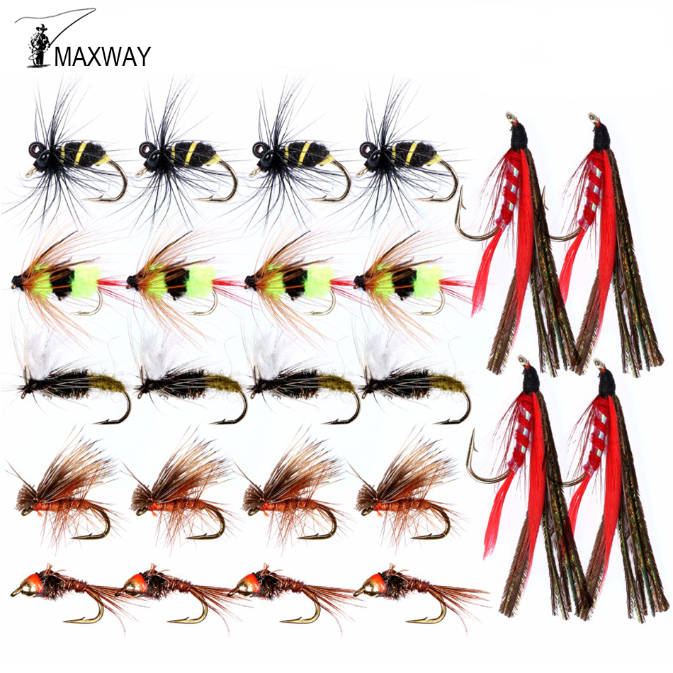 20pcs Fly Fishing Flies Tackle Lures Dry Trout Baits Lifelike Lures Buzzers