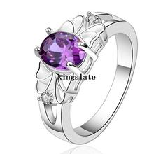 Luxury elegant purple new Silver Rings Jewelry Crystal Beautiful flowers ring women lady cute nice beat wild Free shipping R550