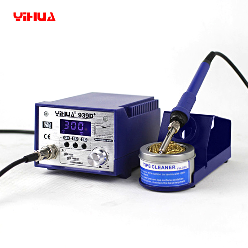 YIHUA 939D+ High Power Iron Soldering Station 75W Adjustable Temperature Soldering Iron Rework 110V 220V Electric Soldering iron esd safe 75w soldering handpiece t245a solder iron handle for di3000 intelligent soldering station