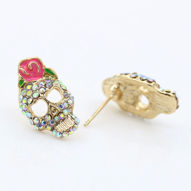 Hot 1 Pair Unique Fashion Punk Style Rose Red Enamel Skull Pink Stud Earrings Boucle