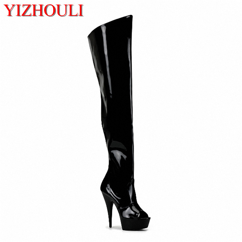 15cm high-heeled shoes cutout over-the-knee womens boots back strap open toe sandals 6 inch heels thigh high boots