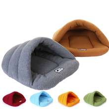 New Slipper Style Winter Warm Fleece Pet Cat Sleeping Bags Puppy Small Dog Bed with Cushion Pet Rabbit Squirrel Hamster House