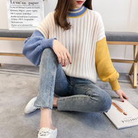 2019 new women sweaters and pullovers o neck long sleeved patchwork loose lantern sleeved female elegant outwear coat tops
