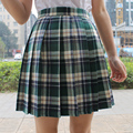Vintage Fashion England Style Skirt Women Summer Pleated Skirts Japan School Uniform Red/Green Plaid Skirts