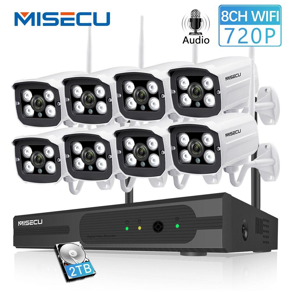 MISECU 8CH NVR WIFI System720P 1MP IP WIFI Della Macchina Fotografica di Registrazione Audio Esterna Impermeabile Spina Play Wireless P2P Night del CCTV di Sicurezza