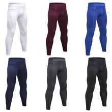 Mens Plus Size Compression Long Pants Mid Waisted Solid Color Stripes Quick Dry
