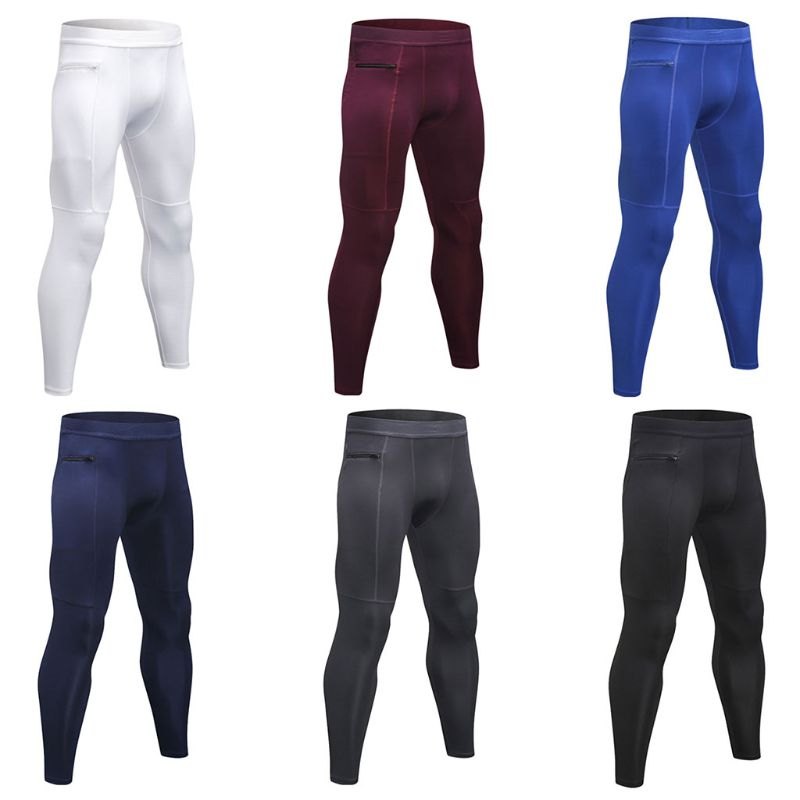 Mens Plus Size Compression Long Pants Mid Waisted Solid Color Stripes Quick Dry Baselayer Sport Tights Zipper Pocket Running Leg