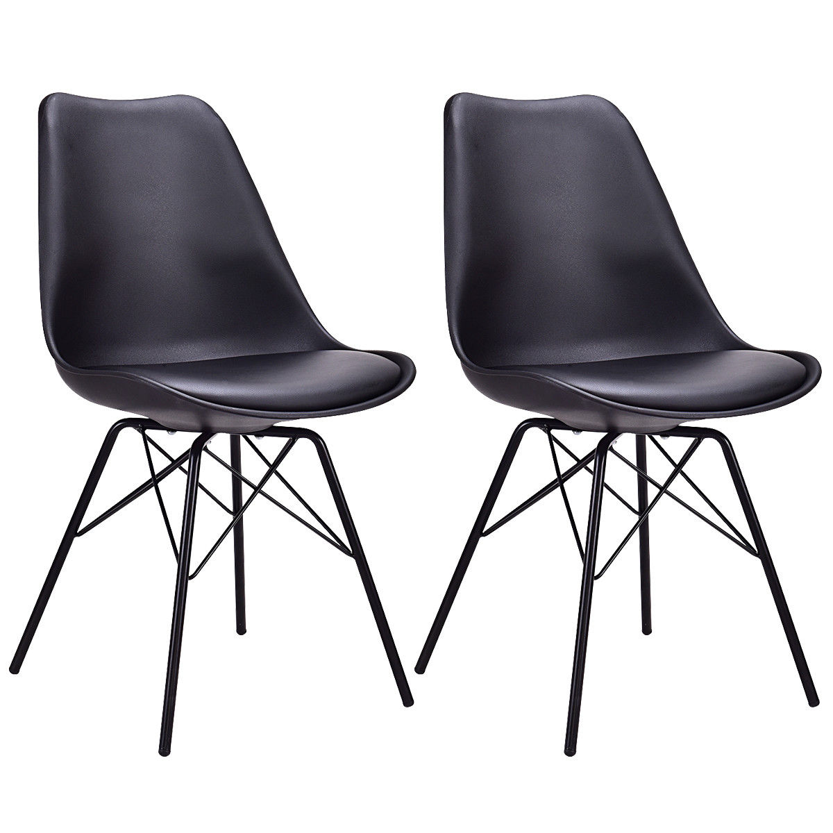 Giantex Set of 2pcs Dining Side Chair Upholstered Armless with Padded Seat Metal Legs Black Modern Home Furniture HW56508BK helix dining chair anti black gold set of 2