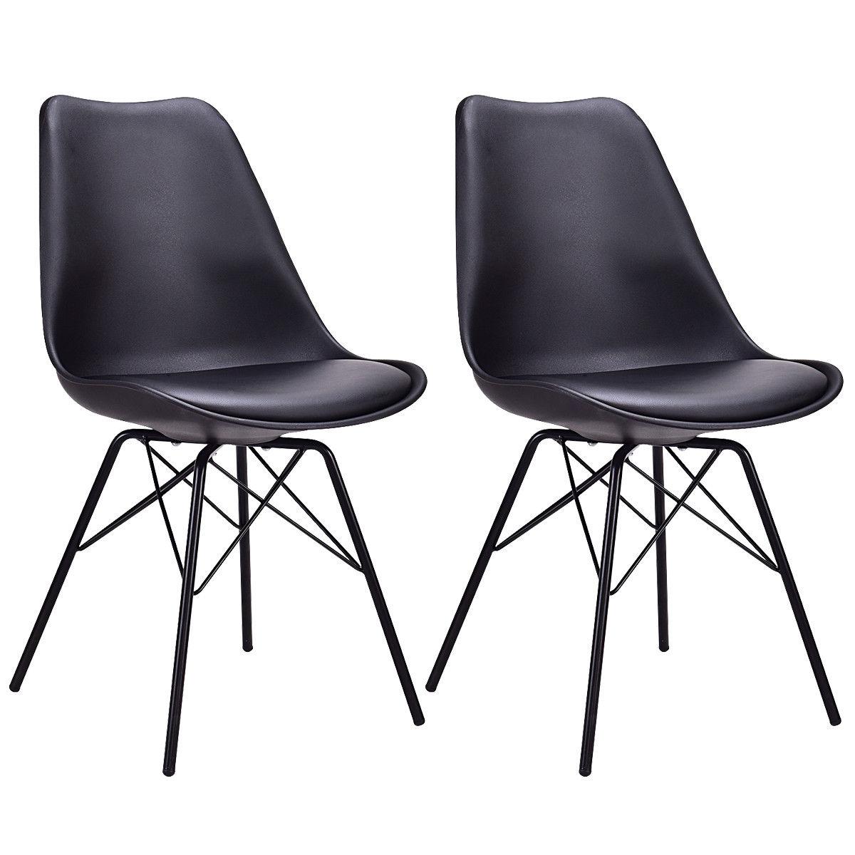 купить Giantex Set of 2pcs Dining Side Chair Upholstered Armless with Padded Seat Metal Legs Black Modern Home Furniture HW56508BK по цене 4886.43 рублей