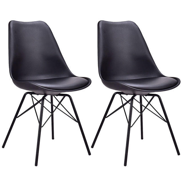 Bon Giantex Set Of 2pcs Dining Side Chair Upholstered Armless With Padded Seat  Metal Legs Black Modern