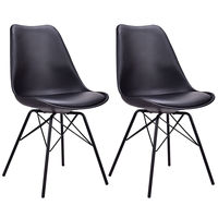 Giantex Set of 2pcs Dining Side Chair Upholstered Armless with Padded Seat Metal Legs Black Modern Home Furniture HW56508BK