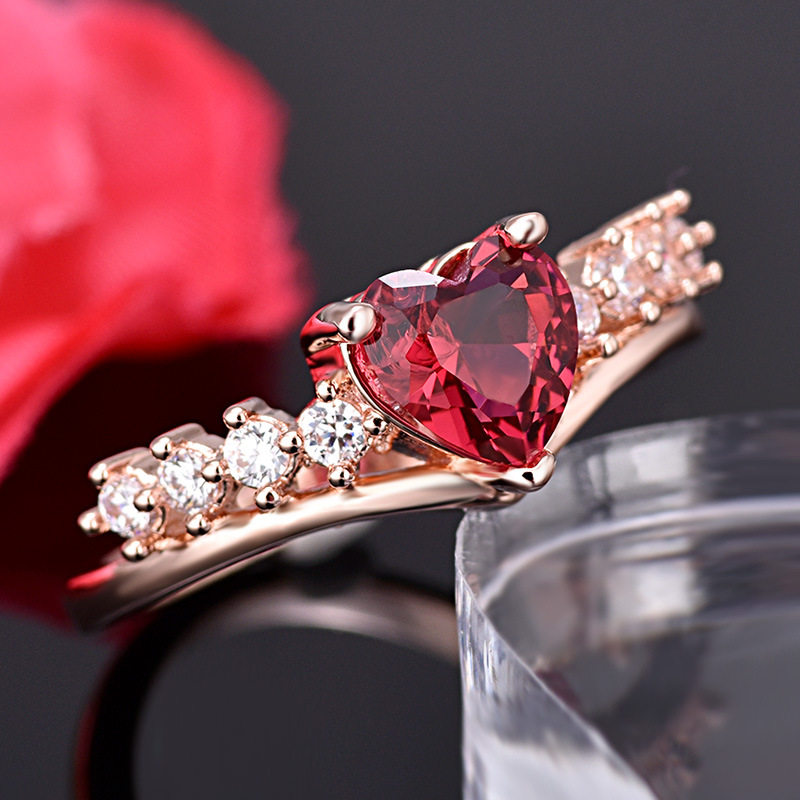 PRECIOUS RUBY RED HEART RING 3