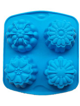 Microwave oven silicone baking cake mold DIY jelly mould 4 flower pattern handmade soap molds