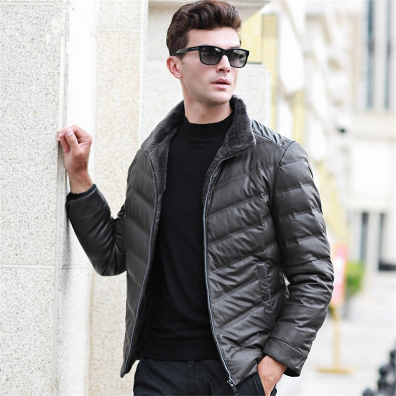 Male Brand Clothing 90% White Duck   Down     Coats   Male Plus Size 4XL Winter   Down   Jackets Men's Wool Turn-  down   Collar Parkas   Coat