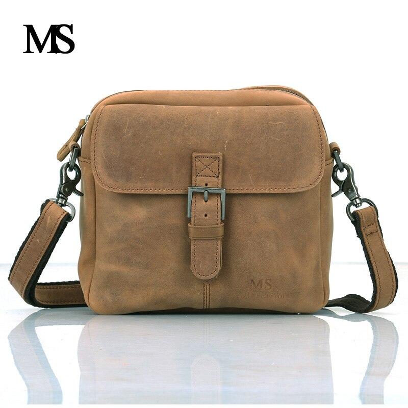 MS Пояса из натуральной кожи Для мужчин сумка из натуральной воловьей Для мужчин Курьерские сумки Винтаж Для мужчин коровьей Плечо Сумка Чер... ...