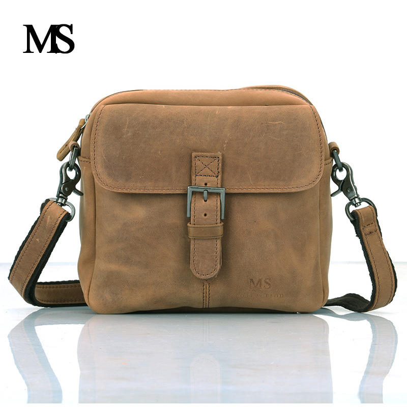 MS Genuine Leather Men Bag Natural Cowskin Men Messenger Bags Vintage Men's Cowhide Shoulder Crossbody Bag Hangbags TW2008 2016 new 100% guarantee genuine leather men bag high quality natural cowskin men messenger bags vintage shoulder crossbody bag
