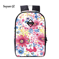 Fashion Casual 2016 Flower Floral Men Women Backpack 3D Print Girls School Bagpack Female Ladies Tourism