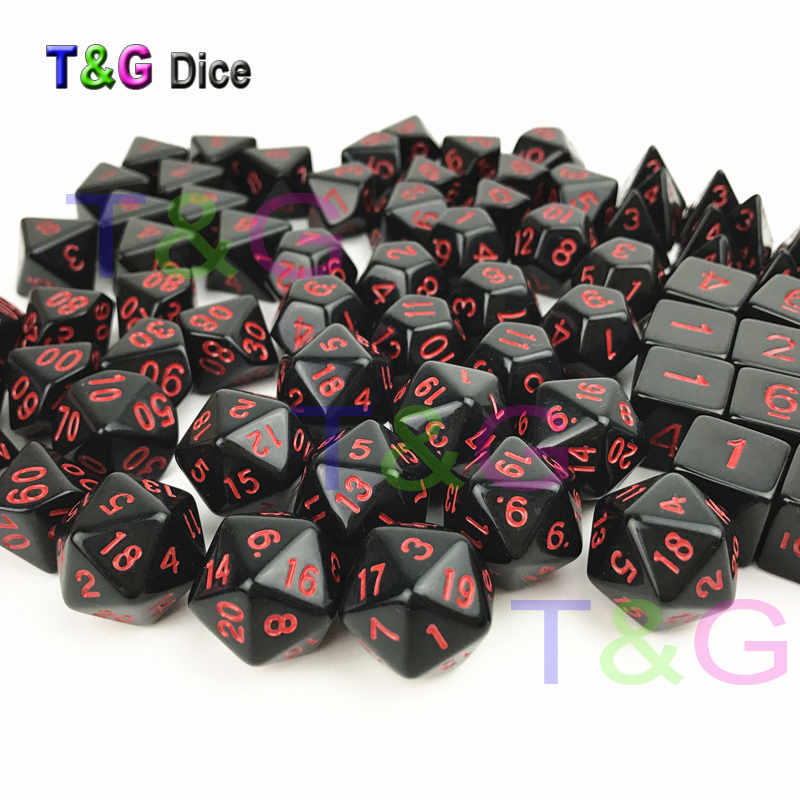 T&G Top Quality Solid Color Black X Red Dots Effect Polyhedral Digital Cube Dice D4/D6/D8/D10/D10%/D12/D20 For RPG/Board Game