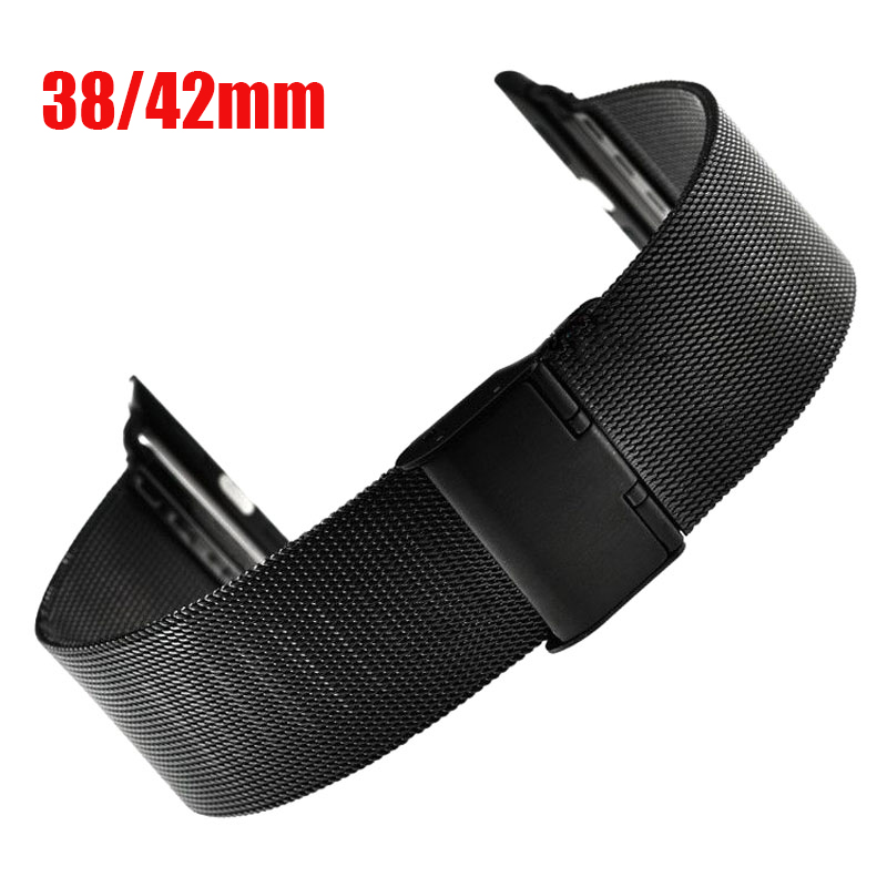 Fashion Metal Stainless Steel Mesh Watch Strap for Apple Watch iWatch Wristwatch Strap Black Silver 38mm 42mm Replacement