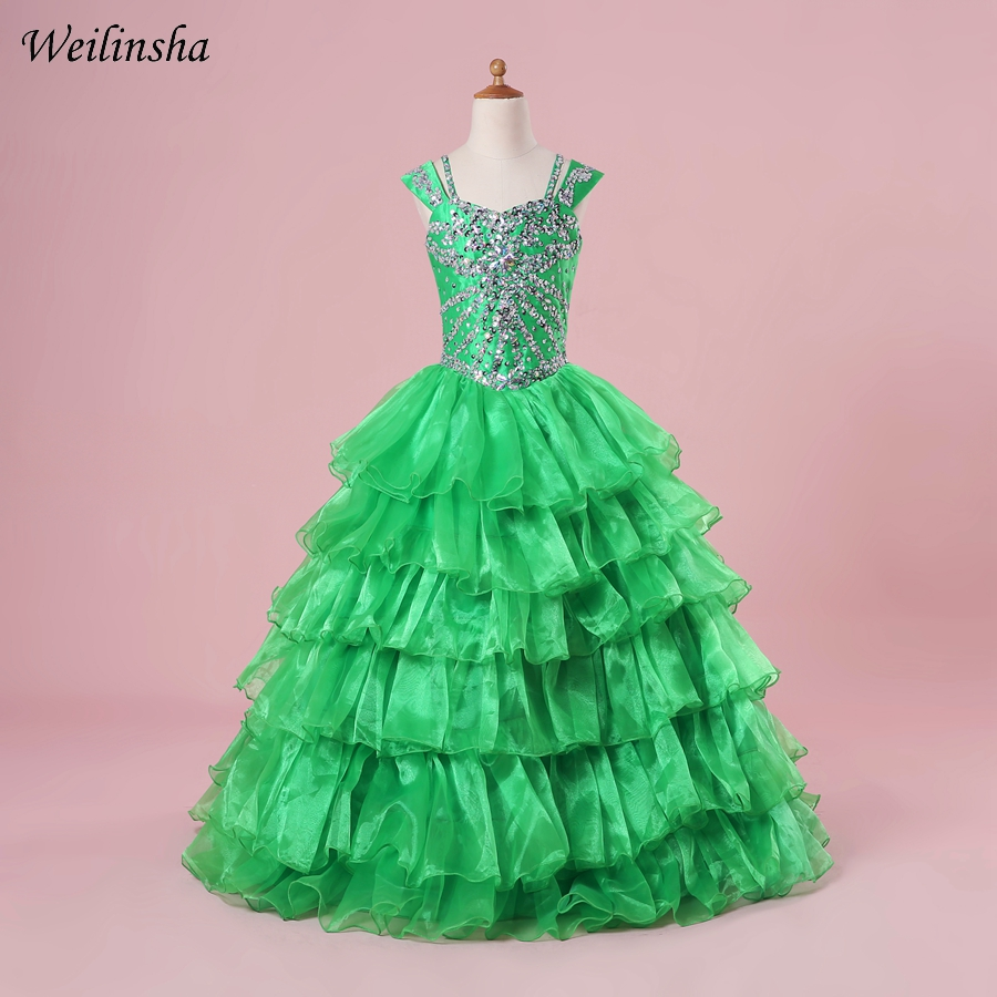 Weilinsha Ruffles Organza   Flower     Girl     Dresses   Cap Sleeve Beaded Crystals   Girl   Pageant   Dress   Evening Gowns Vestidos de comunion