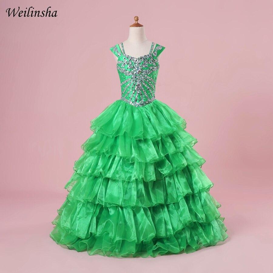3d6fd4770 Weilinsha volantes Organza Vestidos de niña de manga con cuentas cristales  chica vestido de noche Vestidos