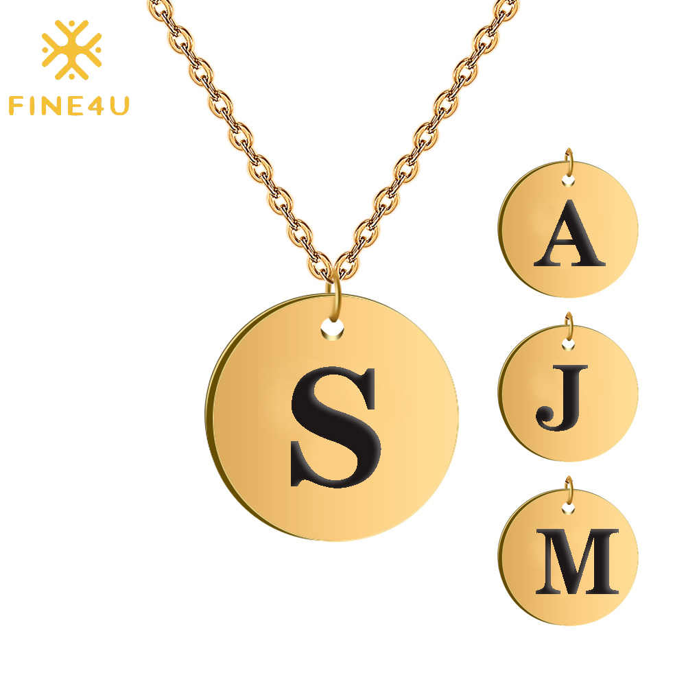 FINE4U N251 Cute Round Coin Pendants Necklaces Stainless Steel Chain Necklace Engraved Letters Alphabet Customized Jewelry