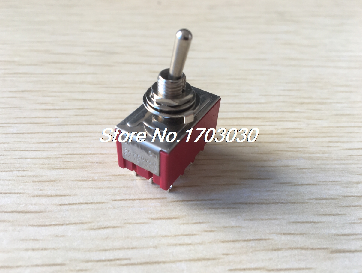 Red Two Positions 12-Pin 4P2T ON-ON Mini Toggle Switch 6A AC125V 2A AC250V 1pcs image