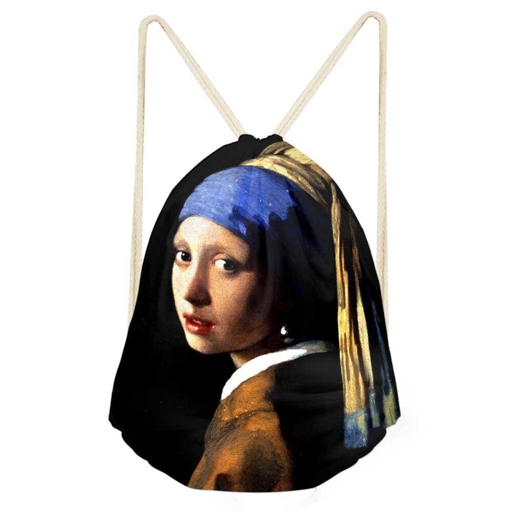 Drawstring Bag Women's Van Gogh Oil Painting Backpack Females Small Shopping String Pouch Kids Girls Logo Custom Bolsos Rucksack