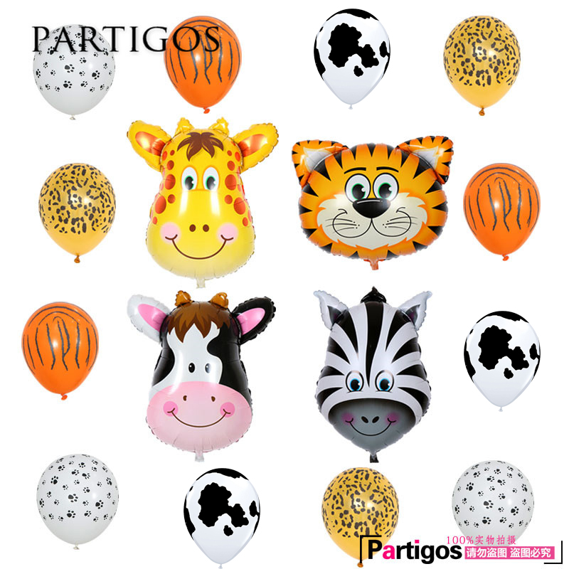 16pcs/lot Middle Size Animal Head Balloons Animal Printed Latex Balons Child Jungle Theme Party Decor Baby Shower Giftts Globos