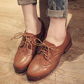 Preppy style Vintage Women Brogue Shoes Lace-Up Flats Spring/Autumn Breathable Oxford shoes High-quality PU leather 03