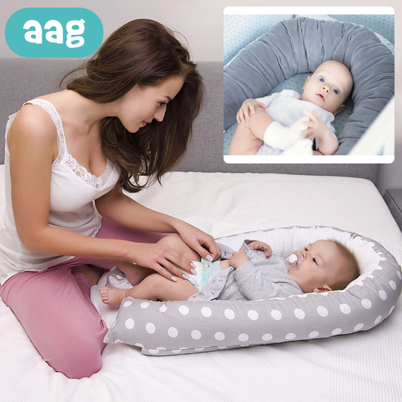AAG Portable Pure Cotton Baby Nest Cribs Nursery Travel Folding Baby Bed In Bed Foldable Infant