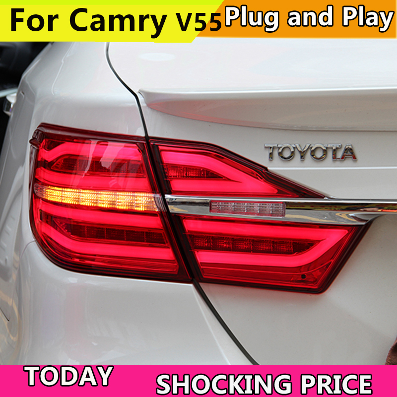 цена на Car Styling for Tail Lights 2015 2016 2017 Toyota Camry V55 LED Rear Light Fog light Rear Lamp DRL Brake+Park+Signal