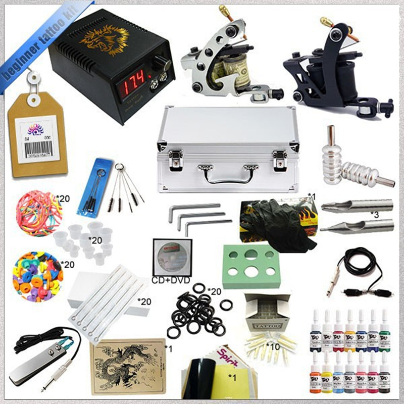 Beginner complete tattoo machine kit ink sets digital lcd for Supplies for tattooing