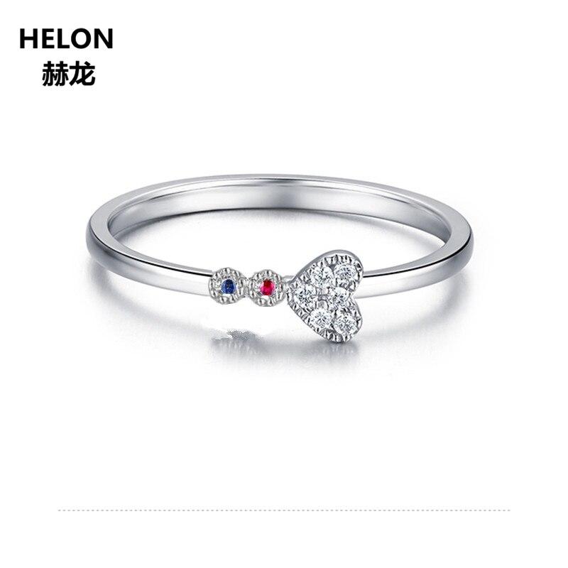 SOLID 14 К Белое золото природных алмазов Рубин Сапфир Обручение обручальное кольцо для Для женщин сердце вечерние Ювелирные украшения