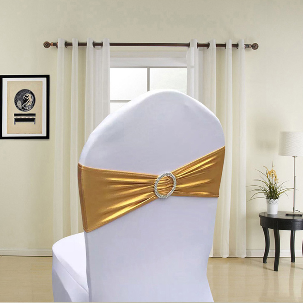Hot 100pcs lot Gold Silver Metallic Color Spandex Chair Sash Band With Round Buckle For Hotel