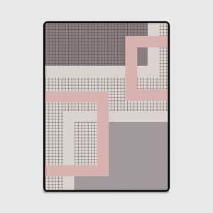 Image 5 - Nordic dark pink gray geometric lattice mat home bedroom bedside entrance elevator floor mat sofa coffee table anti slip carpet