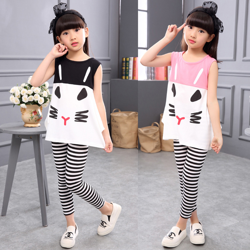 Kids Set Girls Clothes Summer Sleeveless Print T-Shirt Striped Leggings 2PCS Children Clothing Set Cotton Casual Todders Outfits side striped leggings