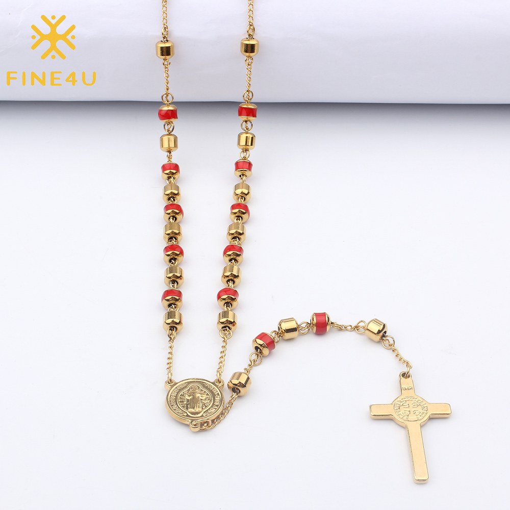 Fashion Gold-color Rosary Pray Bead Jesus//Maria Cross Long Choker Necklaces Pendants Bead Necklace