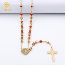 FINE4U N174 Cross Pendant Necklace For Men Women Stainless Steel 6mm Beads Rosary Necklaces Christian Jesus Religious Jewelry(China)