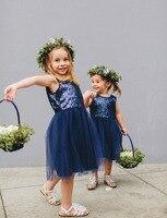 Navy Blue 2019 Flower Girl Dresses For Weddings A line Cap Sleeves Tulle Sequins First Communion Dresses For Little Girls