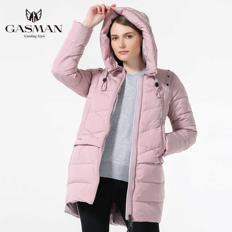 GASMAN 2019 mujer invierno encapuchado engrosamiento abrigo moda delgada abajo chaqueta femenina a prueba de viento abrigo Casual con capucha Bio Down Parka