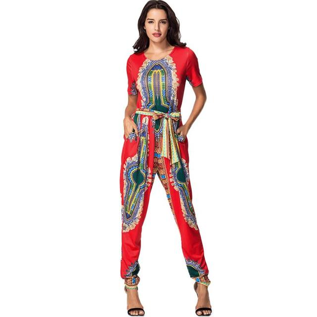 2ee538546 MUQGEW Hot Sale print causal multicolor Rompers Women Short Sleeve Franterd  African Print Long Pants Jumpsuits Item specifics