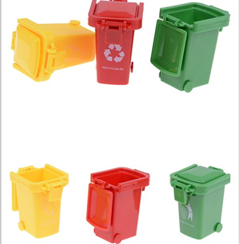 3pcs/pack Wholesale Kawaii Trash Garbage Can Container Gag Toy One Set For Children Playing