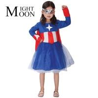 Kids Superhero Comic Captain America Costume Dress Masks Girl Children Halloween Role Play Birthday Gifts