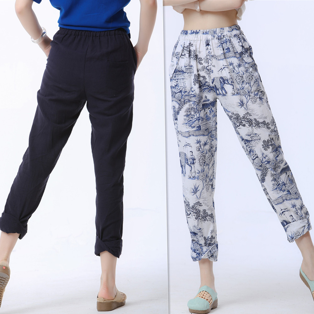 Women thin cotton linen trousers Casual   pants   turn-up cuff trousers   Capri     Pants   Cropped Cropped   Pants   2 colors