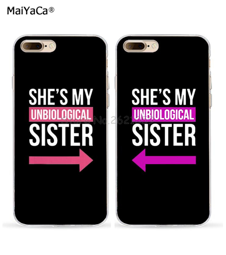 she is my sister best friends love pair soft TPU case for iphone x 4s 5c 5s se 6s 6splus 7 7plus 8 8plus BFF silicone case