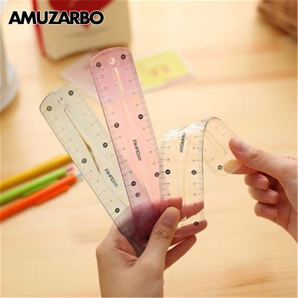 1PCS 15CM Cute Plastic Soft Flexible Straight Scale Ruler Double Side Stationery Rulers For Students Drawing Gift School Supplie