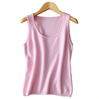 100 Cashmere Knitted Tank Top Vest Women Basic Clothing Solid Tops 6 Colours Cacual Style Autumn